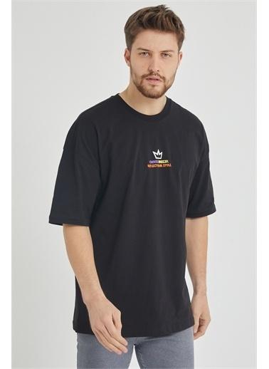 XHAN Yeşil Önür & Arkası Baskılı Oversize T-Shirt 1Kxe1-44650-08 Siyah